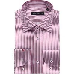 Koszula Czerwona w Prążek Sansa. Czerwone koszule męskie na spinki marki LANCERTO, m, w prążki, z bawełny, z klasycznym kołnierzykiem. W wyprzedaży za 149,90 zł.
