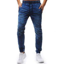 Joggery męskie: Joggery męskie denim look niebieskie (ux1238)