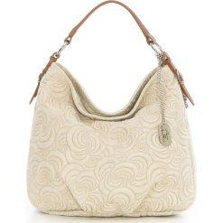 Torebki klasyczne damskie: Skórzana torebka w kolorze beżowym – 35 x 30 x 15 cm