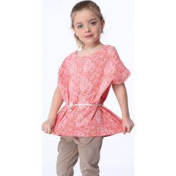 T-shirty dziewczęce: Bluzka dziewczęca z wiązaniem biało-koralowa NDZ8200