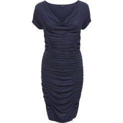 Sukienka z drapowaniem bonprix ciemnoniebieski. Niebieskie sukienki balowe bonprix, z nadrukiem, z dekoltem woda. Za 79,99 zł.