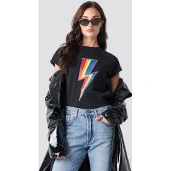 Rut&Circle T-shirt Rainbow Flash - Black. Czarne t-shirty damskie Rut&Circle, z materiału, z okrągłym kołnierzem. Za 104,95 zł.