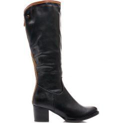 Czarne kozaki damskie obcas słupek. Czerwone buty zimowe damskie CREAMBERRYS, z materiału, na obcasie. Za 119,00 zł.