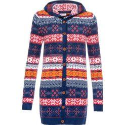 Sweter rozpinany w norweski wzór bonprix szafirowy wzorzysty. Niebieskie kardigany damskie bonprix. Za 99,99 zł.