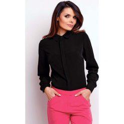 Koszule body: Czarna Elegancka Klasyczna Koszula z Krytym Zapięciem