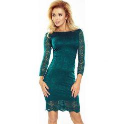 Zielona Sukienka Wizytowa z Koronki. Zielone sukienki balowe marki Molly.pl, na imprezę, l, w koronkowe wzory, z koronki, z dekoltem w łódkę, dopasowane. Za 179,90 zł.
