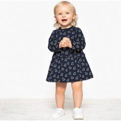Sukienka z nadrukiem z moltonu,1 miesiąc - 3 latka, Oeko Tex. Szare sukienki dziewczęce marki La Redoute Collections, z nadrukiem, z bawełny, z długim rękawem, długie, maxi. Za 52,88 zł.