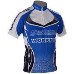 WORKER Koszulka rowerowa biało-granatowa r. XS. Czarne odzież rowerowa męska marki B'TWIN, m. Za 206,62 zł.