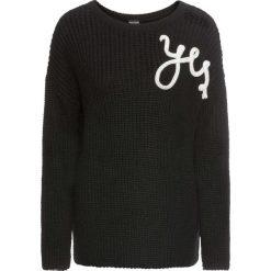 """Swetry klasyczne damskie: Sweter dzianinowy """"YES"""" bonprix czarno-biały"""