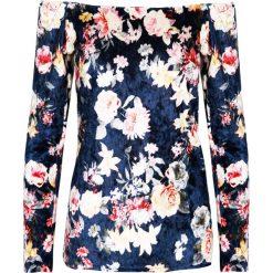Bluzka - 46-1248 BLU. Niebieskie bluzki asymetryczne Unisono, l, w kwiaty, z elastanu. Za 19,00 zł.