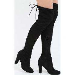 Czarne Kozaki Same Girl. Czarne buty zimowe damskie marki Born2be, z materiału, na wysokim obcasie, na obcasie. Za 129,99 zł.