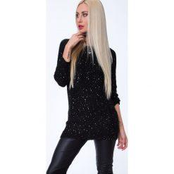 Sweter czarny z cekinami MP32065. Czarne swetry klasyczne damskie Fasardi, m. Za 63,20 zł.