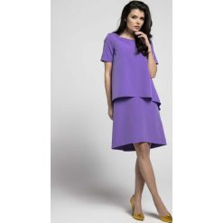 Fioletowa Trapezowa Sukienka z Asymetryczną Nakładką. Fioletowe sukienki asymetryczne marki Molly.pl, l, eleganckie, z asymetrycznym kołnierzem, z krótkim rękawem, mini. W wyprzedaży za 110,58 zł.