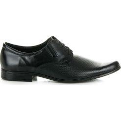 Derby męskie: Czarne eleganckie półbuty Glamour