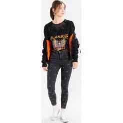Topshop PIERCED JAMIE Jeans Skinny Fit black. Czarne rurki damskie Topshop. W wyprzedaży za 305,10 zł.