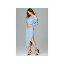 Sukienka K479 Niebieski. Szare sukienki asymetryczne marki Mohito, l, z asymetrycznym kołnierzem. Za 179,00 zł.