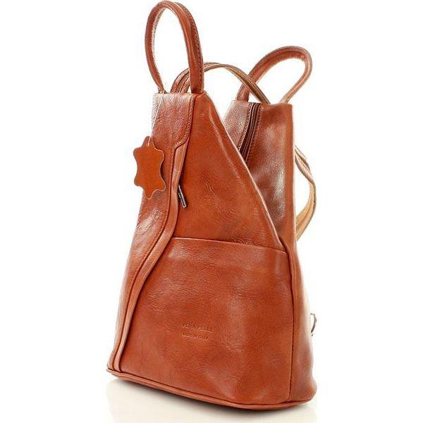 ab62e4b15fee6 Modny plecak damski camel MORENA CLASSIC - Brązowe plecaki damskie Vera  Pelle