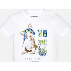 Mayoral - T-shirt dziecięcy 68-98 cm. Białe t-shirty męskie z nadrukiem Mayoral, z bawełny. Za 54,90 zł.