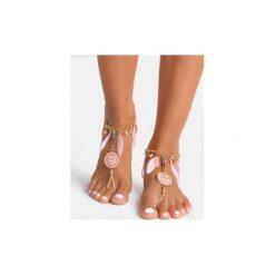 Bransoletki damskie: Różowa bransoletka na stopę Peace