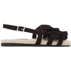 Rzymianki damskie: Płaskie sandały z ozdobami Froufrou