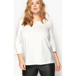 Bluza z ozdobnym tyłem i rękawem 3/4. Szare bluzy damskie CASTALUNA, z bawełny. Za 136,46 zł.