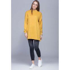 Swetry damskie: Miodowy Oversizowy Długi Sweter z Półgolfem