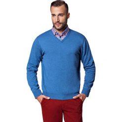 Sweter Niebieski Robin. Niebieskie kardigany męskie marki LANCERTO, m, z bawełny, z dekoltem w serek. W wyprzedaży za 149,90 zł.