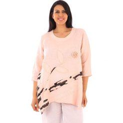 T-shirty damskie: Lniana koszulka w kolorze jasnoróżowym