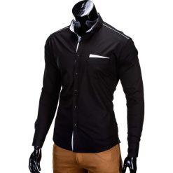 KOSZULA MĘSKA Z DŁUGIM RĘKAWEM K207 - CZARNA. Brązowe koszule męskie marki Ombre Clothing, m, z aplikacjami, z kontrastowym kołnierzykiem, z długim rękawem. Za 69,00 zł.