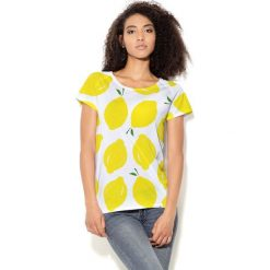 Colour Pleasure Koszulka damska CP-034 65 biało-żółta r. M-L. Białe bluzki damskie marki Colour pleasure, l. Za 70,35 zł.