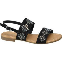 Sandały damskie Graceland czarne. Czarne sandały damskie marki Graceland, w kolorowe wzory, z materiału. Za 59,90 zł.