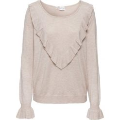 Sweter z falbaną bonprix beżowy. Brązowe swetry klasyczne damskie marki bonprix. Za 89,99 zł.