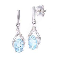 Kolczyki damskie: Złote kolczyki-wkrętki z diamentami i topazem