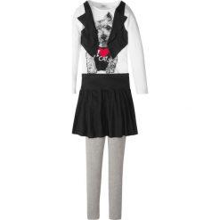 Shirt z kamizelką + spódnica + legginsy (3 części) bonprix jasnoszary melanż - biało-czarny. Szare legginsy dziewczęce marki bonprix, melanż. Za 44,99 zł.