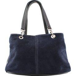 Torebki i plecaki damskie: Skórzana torebka w kolorze granatowym – 32 x 20 x 14 cm