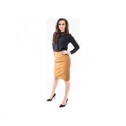 Ołówkowa, miodowa spódnica SL6069. Brązowe spódniczki ołówkowe marki Soleil, l, ze skóry. Za 99,00 zł.