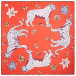 Chusty damskie: Versace 19.69 Chusta Damska Czerwony Wild Leopard
