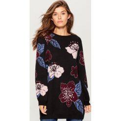 Żakardowy sweter w kwiaty retro - Czarny. Szare swetry klasyczne damskie marki FOUGANZA, z bawełny. Za 179,99 zł.
