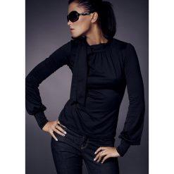 Odzież damska: Czarna Fantazyjna Bluzka z Półgolfem i Kokardą