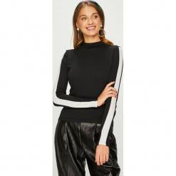 Answear - Bluzka. Czarne bluzki asymetryczne ANSWEAR, l, z bawełny, casualowe, z golfem. Za 59,90 zł.
