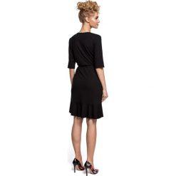 DARELLE Sukienka na zakładkę z wiązaniem - czarna. Brązowe sukienki na komunię marki Moe, l, z bawełny. Za 119,00 zł.