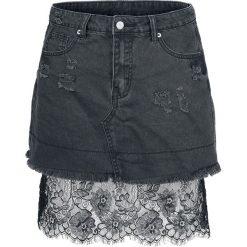 Fashion Victim Jeansrock mit Spitze Spódnica Mini czarny. Czarne minispódniczki Fashion Victim, m, w koronkowe wzory, z jeansu. Za 79,90 zł.