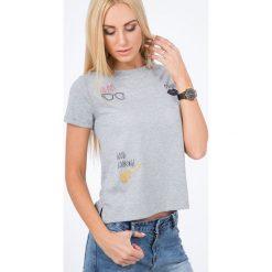 Jasnoszary T-shirt z Nadrukiem BB20096. Szare t-shirty damskie Fasardi, s, z nadrukiem. Za 29,00 zł.