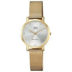 Zegarki damskie: Zegarek Q&Q Damski QA21-001 Fashion Mesh Cyrkonie złoty
