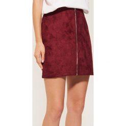 Spódniczki: Spódnica z imitacji zamszu - Bordowy
