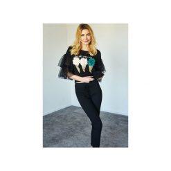 Bluza Ice Creams. Czarne bluzy rozpinane damskie Kelly couronne, l, z aplikacjami, z elastanu. Za 149,00 zł.