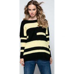 Swetry oversize damskie: Czarny Luźny Sweter w Paski z Naszytą Kieszenią