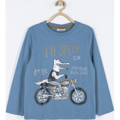 Koszulka. Niebieskie t-shirty chłopięce z długim rękawem MOTORCYCLE CLUB, z aplikacjami, z bawełny. Za 49,90 zł.