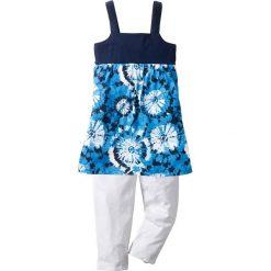 Sukienka + legginsy 3/4 (2 części) bonprix ciemnoniebiesko-biały z nadrukiem. Fioletowe legginsy dziewczęce marki bonprix, na ramiączkach. Za 27,99 zł.