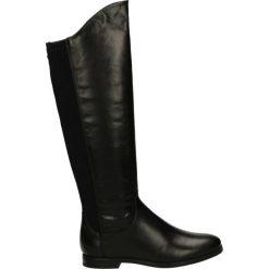 Kozaki ocieplane - 7302 NERO. Czarne buty zimowe damskie marki Kazar, ze skóry, na wysokim obcasie. Za 199,00 zł.